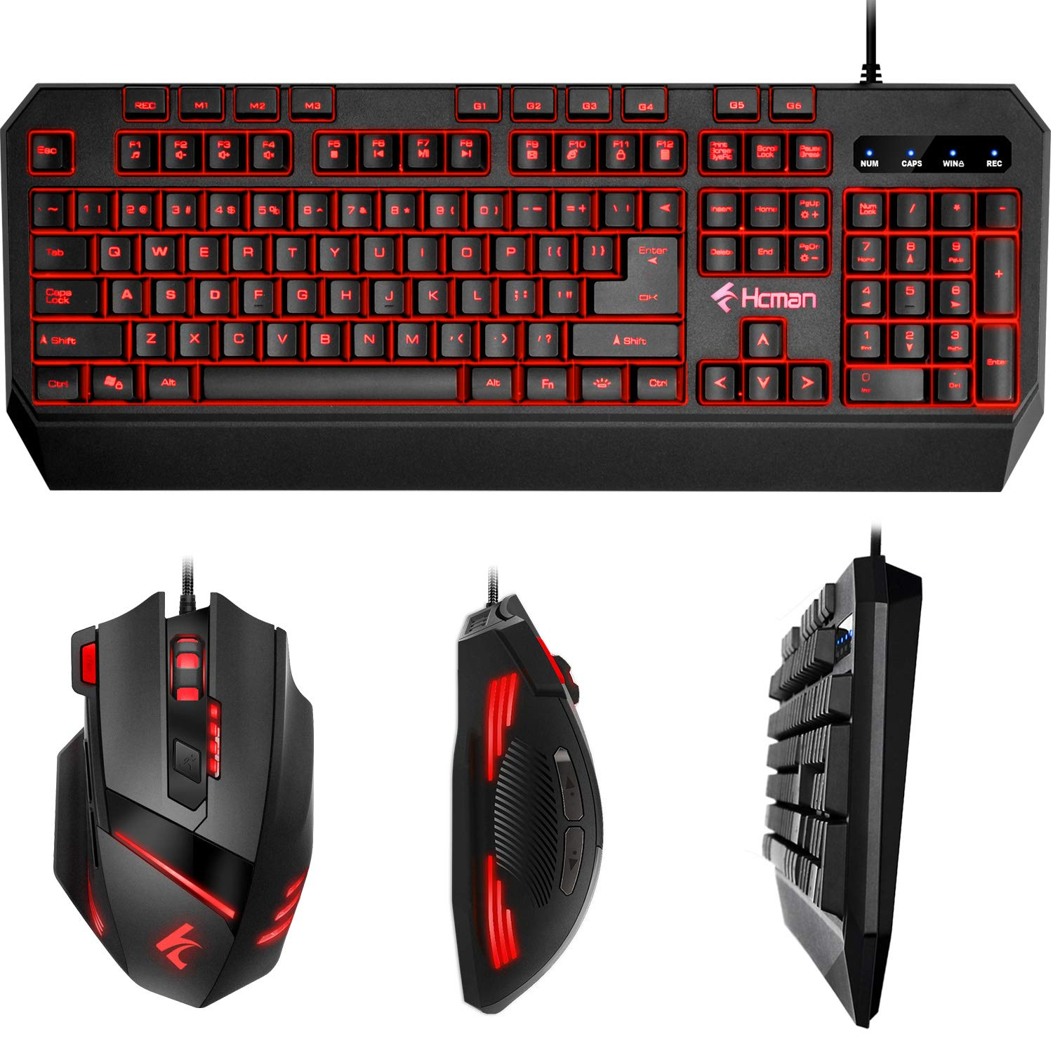 Gaming Keyboard Mouse LED Combo - Hcman 18 Different Macro Keys,Backlit Wired Membrane Keyboard & Programmable 7 Buttons & 5 DPI Mode USB Gaming Mouse, Support Macro Editor, for PC MAC Computer Gamers by Hcman