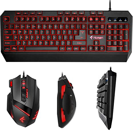 add0f1fbcfc Gaming Keyboard Mouse LED Combo - Hcman 18 Different Macro Keys,Backlit  Wired Membrane Keyboard & Programmable 7 Buttons & 5 DPI Mode USB Gaming  Mouse, ...