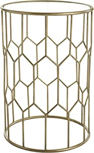 "Adore Decor Harper Modern Glass and Metal Side Table, Gold Geometric Decorative Drum Small Accent for Living Room, 15.75"" Wide Tabletop"