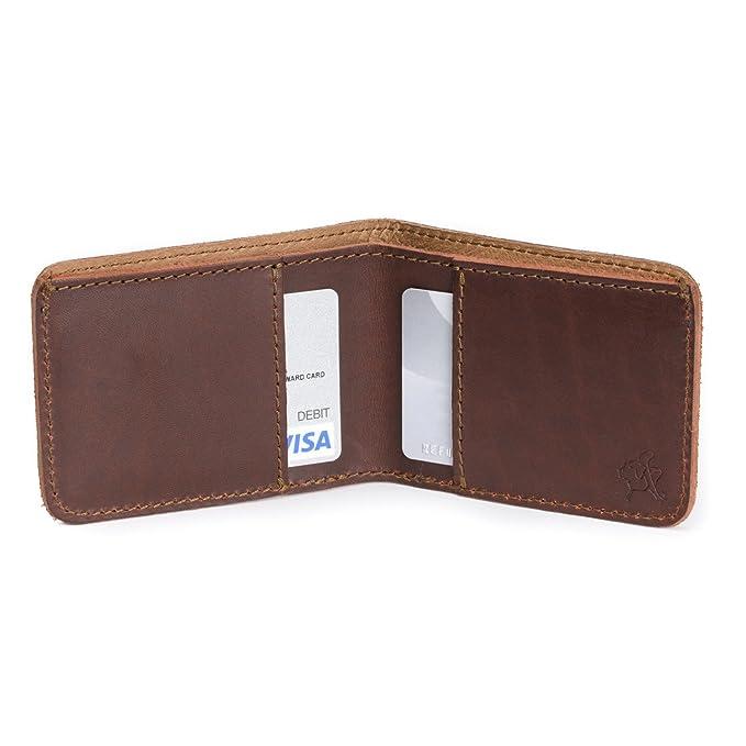 Pequeña cartera de piel Saddleback: fina, rígida, diseño de tarjeta de minimalista: Amazon.es: Ropa y accesorios