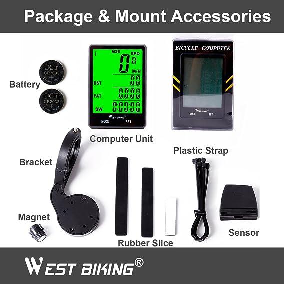 bicicleta odómetro velocímetro para bicicleta, impermeable inalámbrico LCD automático Sensor de movimiento con retroiluminación despertador para ...