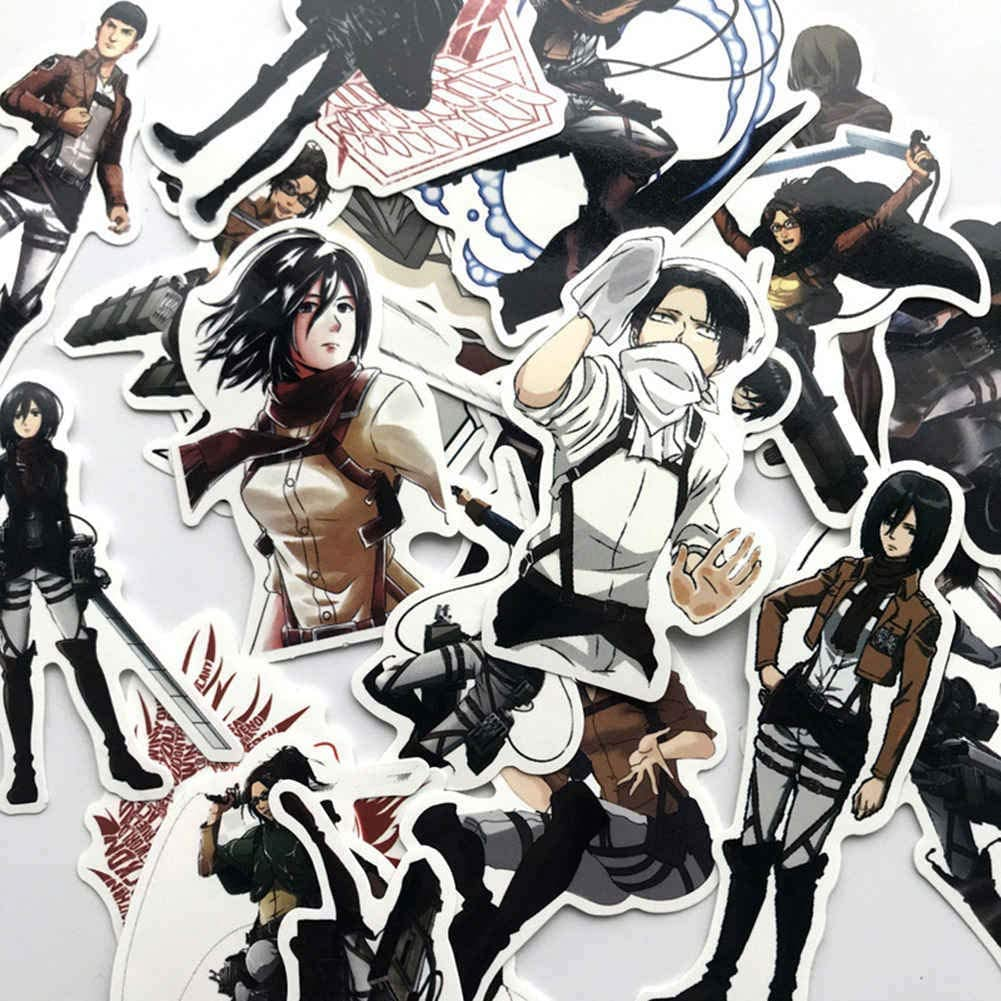 KroY PecoeD Anime Ataque en Titan PVC Pegatinas Estilo 02-42 Piezas Bricolaje Vinilo Adhesivo Dibujos Animados Anime Adhesivo para Port/átil Equipaje Coche Monopat/ín Maleta Funda Nevera y M/ás