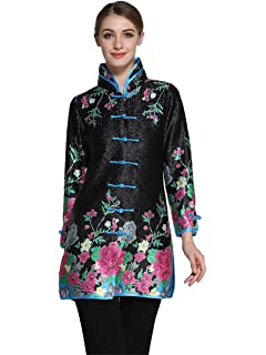 f5a3c27bd9 Bitablue Womens Bubble Crinkle Fabric Flower Print Chinese Long Shirt Black