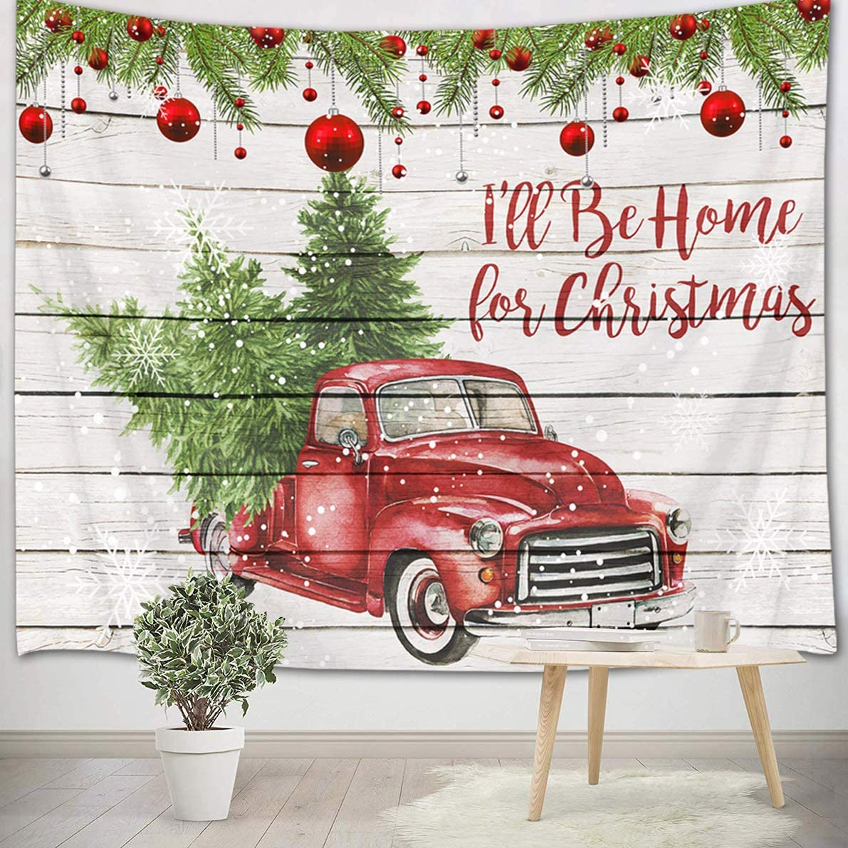 HVEST Christmas Tapestry Wall Hanging Red Truck with Christmas Trees Xmas Balls Wall Tapestry Retro Plank with Snowflake Tapestry Wall Backdrop for Bedroom Room Dorm Outdoor Decor, 60Wx40H inches