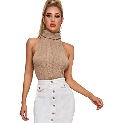SweatyRocks Women's Ribbed Knit Sleeveless Tops Mock Neck Slim Fit Tank Top at Women's Clothing store