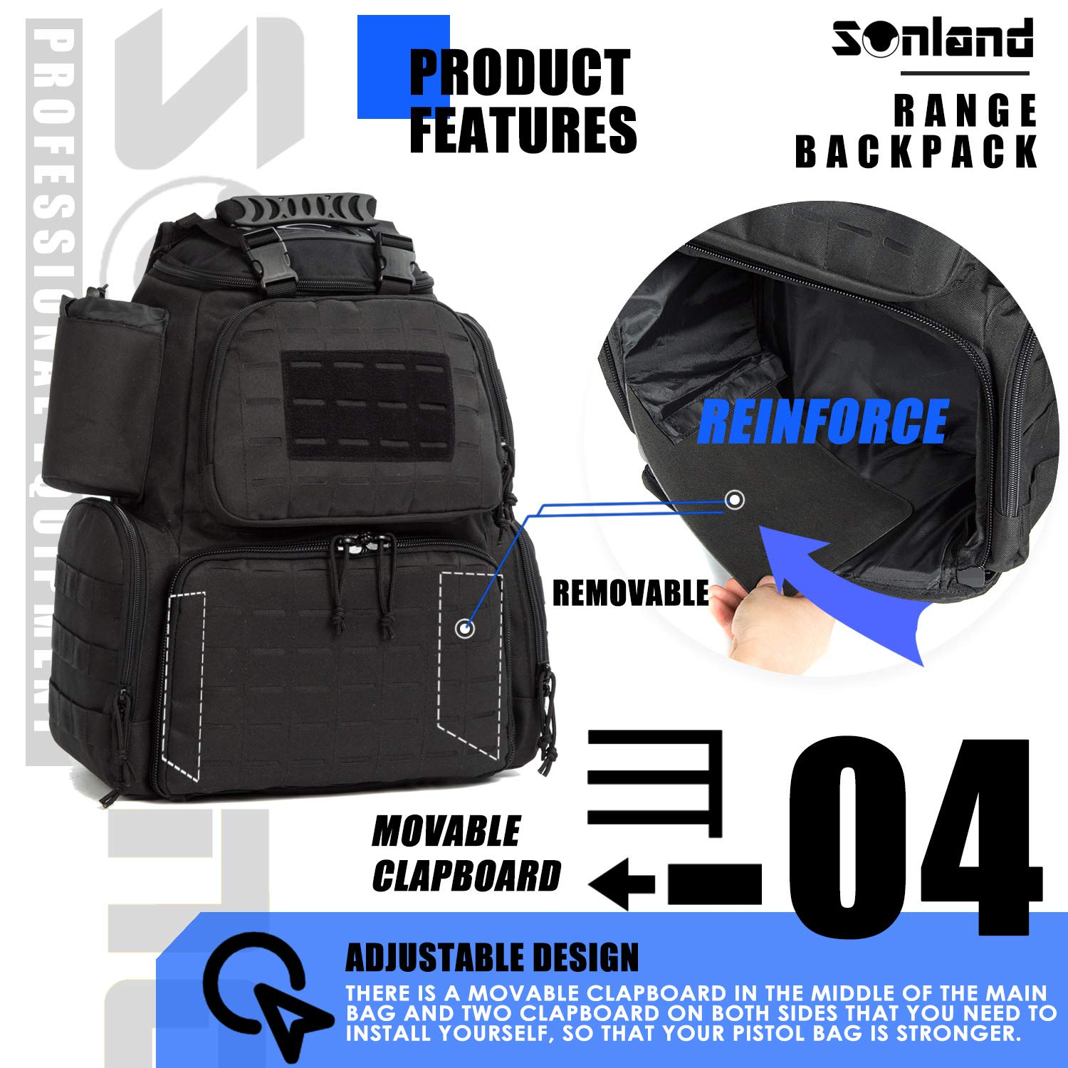 SUNLAND Range Bag Backpack,Gun Backpack with 3-Pistol Case and Protective Rain Cover,Tactical molle System & Lockable zippers-18'' x 14'' x 8'' (Blk) by SUNLAND (Image #5)