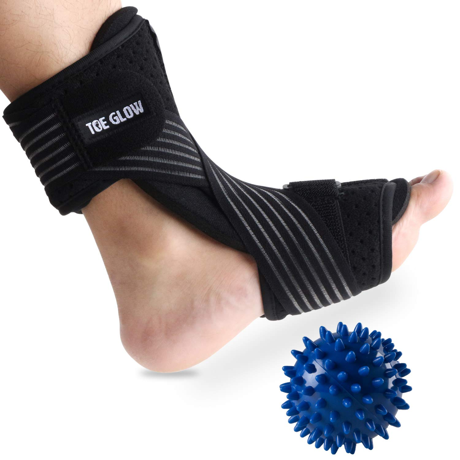 Plantar Fasciitis Night Splint Foot Drop Orthotic Supports Kit Adjustable Dorsal Night Splint Support Sleep, Recovery, Tendonitis, Arthritis with Hard Spiky Massage Ball (Black) by Toe Glow