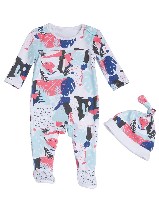 D.B.PRINCE Newborn Baby Boys Girls Sleepwear Rompers Cotton Footed Pajamas