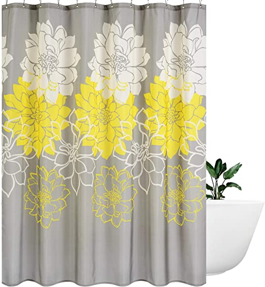 1 Pc Waterproof Yellow-Plant Shower Curtain for Home /& Bathroom