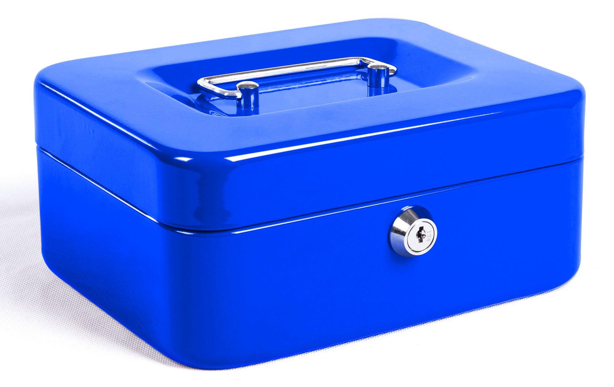 Jssmst Locking Small Steel Cash Box with Money Tray,Lock Box,Blue