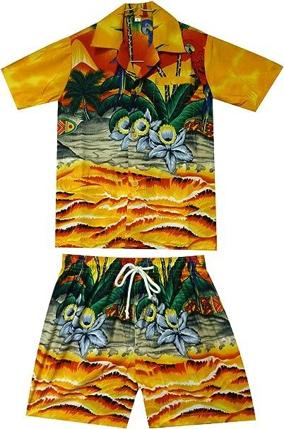 Original King kameha | Funky Hawaii Camisa y pantalones | 2 piezas Cabana | Niños | 2 – 8 años, Print | Papagayo Palmeras playa de Hawaii, Amarillo: Amazon.es: Ropa y accesorios