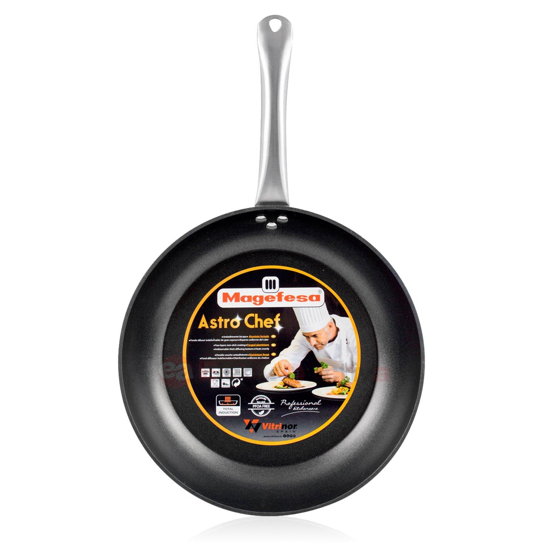 Magefesa Astro Chef Set Juego 3 Sartenes 20-24-28 cm Aluminio, inducción, Antiadherente Libre de PFOA, Mango Profesional Acero Inoxidable, lavavajillas Apta ...