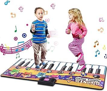 Volume Regolabile ed Autospegnimento 24 Tasti Goplus Tappeto Musicale Piano Tastiera Danza Stuoia con 8 Modelli di Strumenti Musicali Giocattolo Educativo Funzionamento Registrazione e Riascolto
