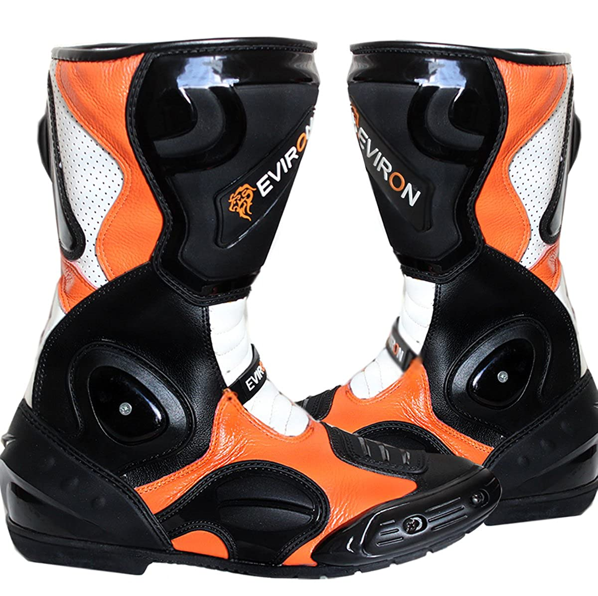 EVIRON Motocicletta Nero Arancione di Stivali