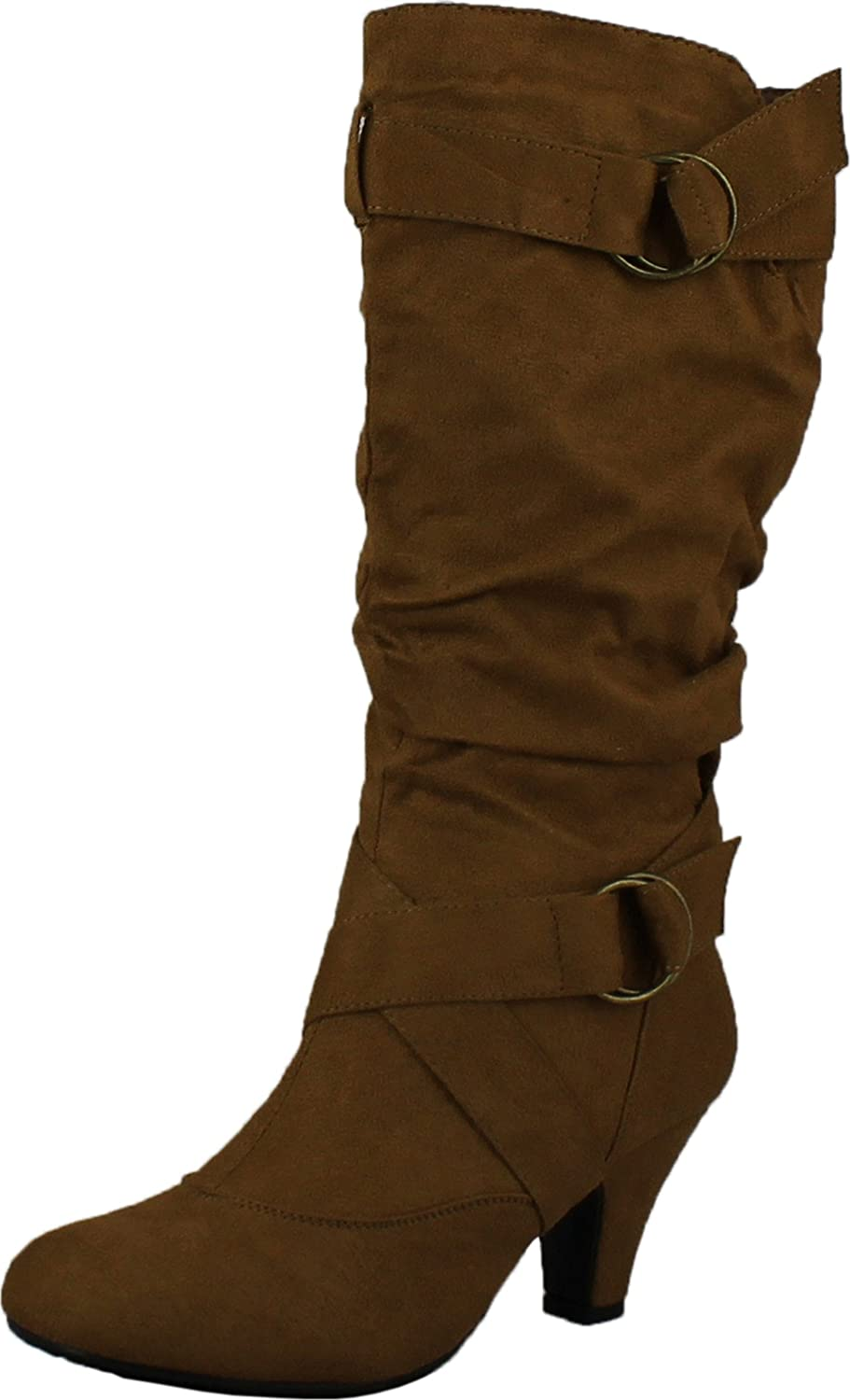 99e2ded6c69 CC Maggie-38 Women Knee High Kitty Heels Wide Shaft Boots