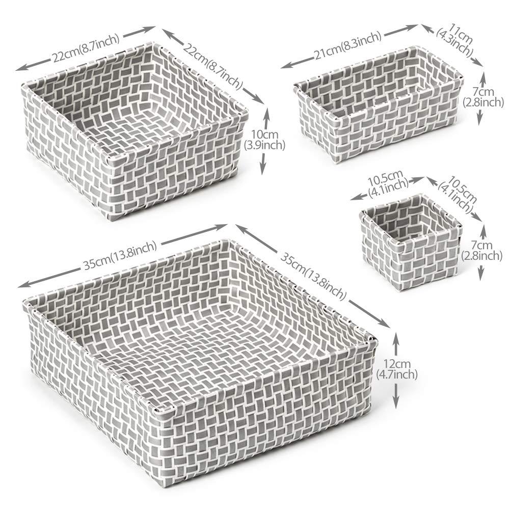 Armario Cestas Multiuso Tejido EZOWare Set de 8 Cajas de Almacenaje Habitaci/ón de Ni/ños Gris y Blanco Hogar Tocador Surtido Organizador de Cajones Ideal para Ba/ño Vestidor