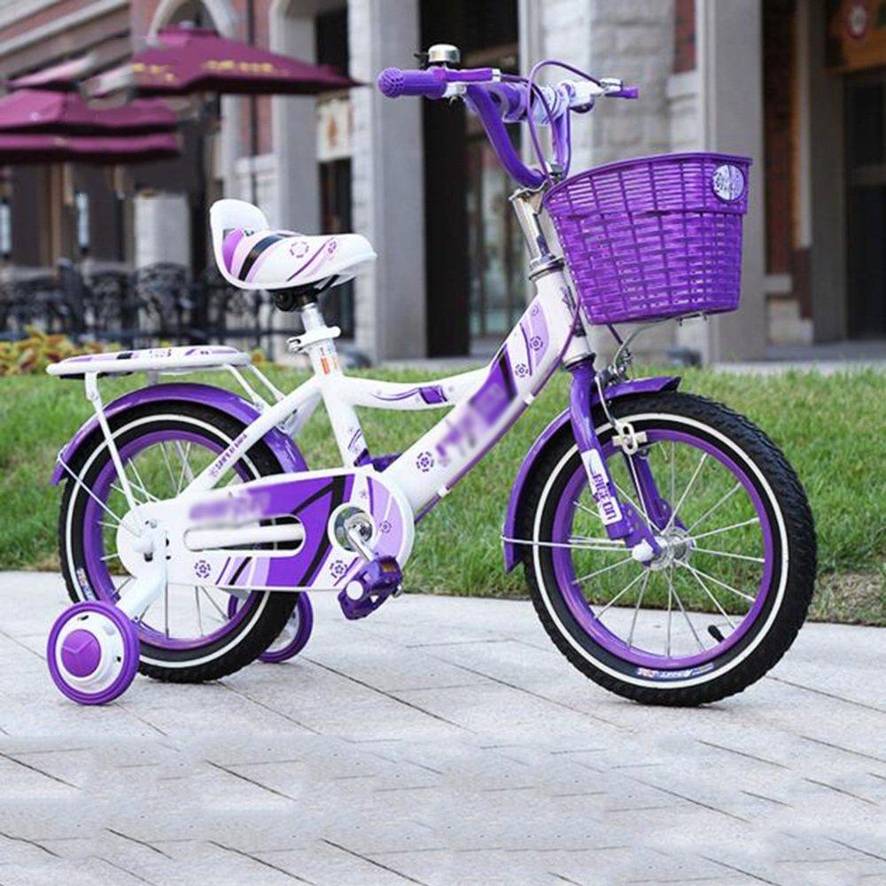 PJ 自転車 バスケット付きガールズバイク、トレーニングホイール付き12,14,16,18インチのガールズバイク、子供用のギフト、女の子の自転車 子供と幼児に適しています (色 : パープル ぱ゜ぷる, サイズ さいず : 14 inches) B07CRH1V86パープル ぱ゜ぷる 14 inches