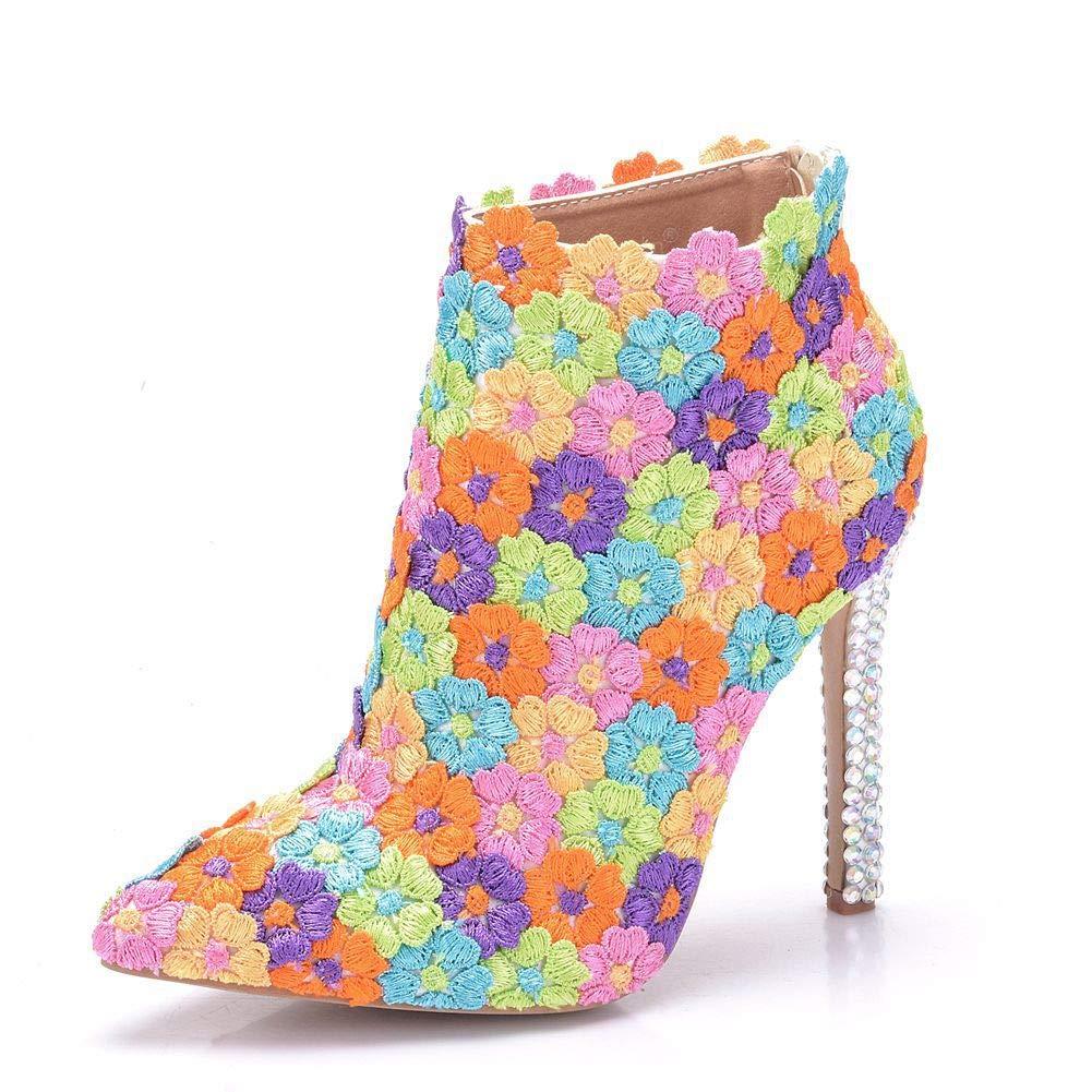 YAN Damen-Stiletto-Schuhe 2019 Spitze PU Pointed Stiefelies Ankle Stiefel Hochzeitsschuhe Rheinestone Satin MulticolGoldt CN37