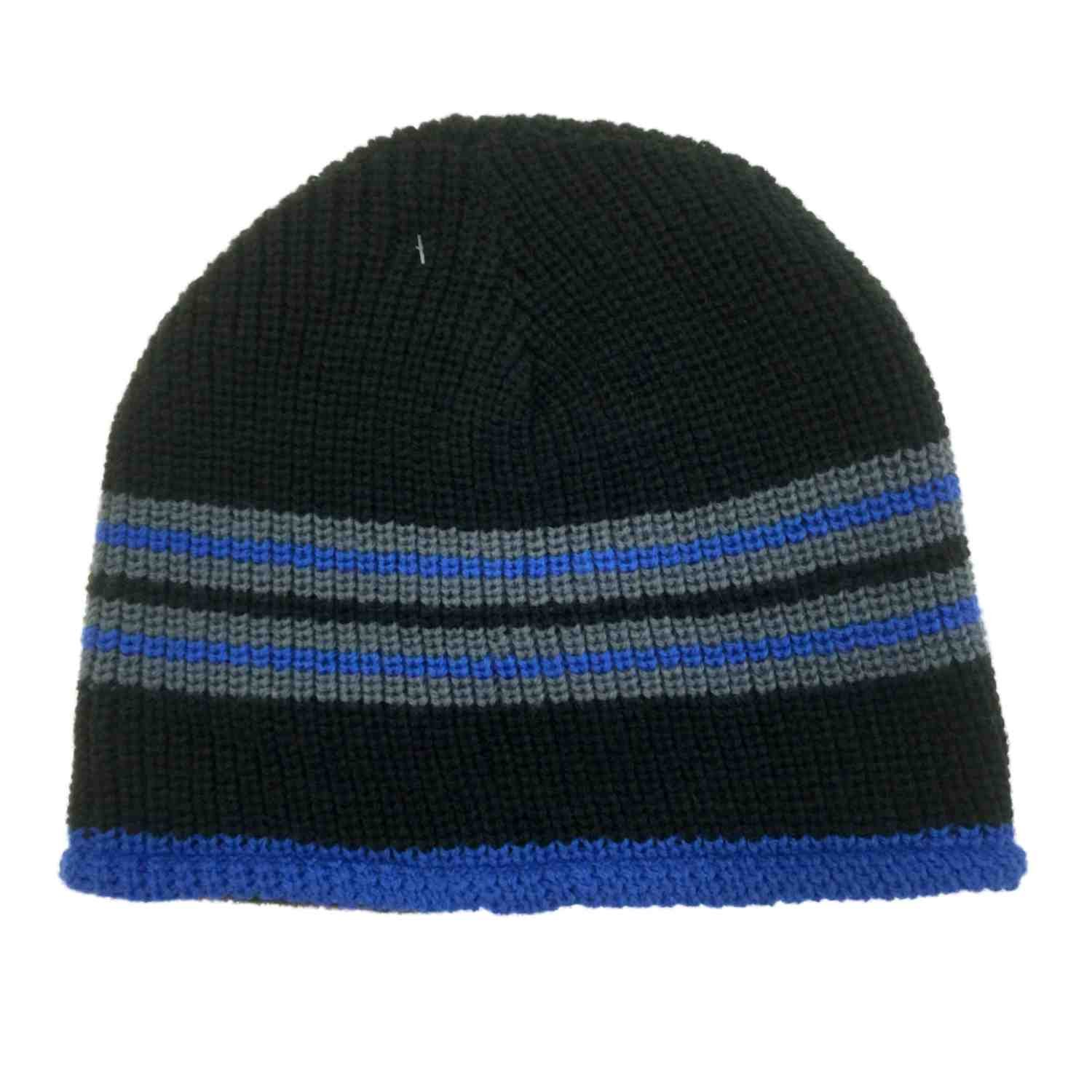 Ben Berger Boys Reversible Blue Black Knit Beanie Cammo Fleece Stocking Cap Hat