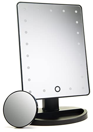 lighted vanity mirror bed bath beyond natural daylight makeup touch screen dimming detachable magnification mirrors reviews travel 10x