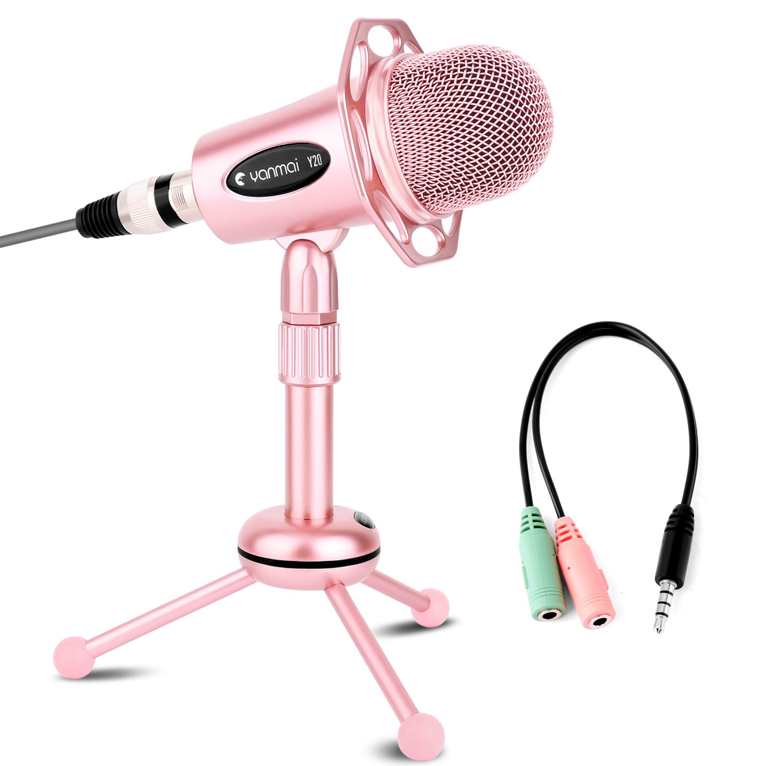 USHAWN Recording Microphone with Tripod Stand for Broadcasting, Chatting, Interview, Video Conference, Gaming, Perfect Fit Your PC, Laptop and Phones(Rose Gold) by USHAWN