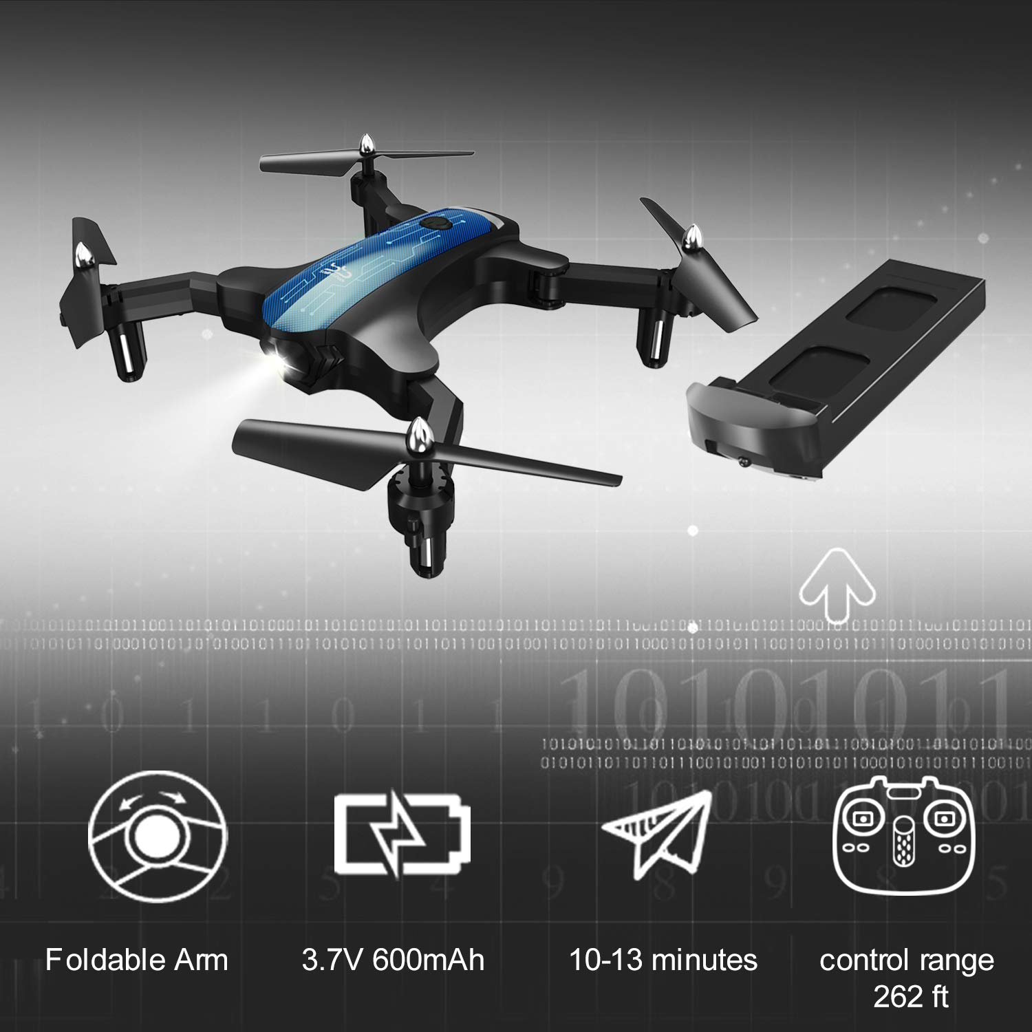 ScharkSpark Drone for Beginners, Portable RC Quadcopter with Foldable Arms Indoor/Outdoor Play, 6-Axis Gyro One-Key Return/Headless Mode/Altitude Hold/3D Flips, Warrior II by ScharkSpark (Image #3)
