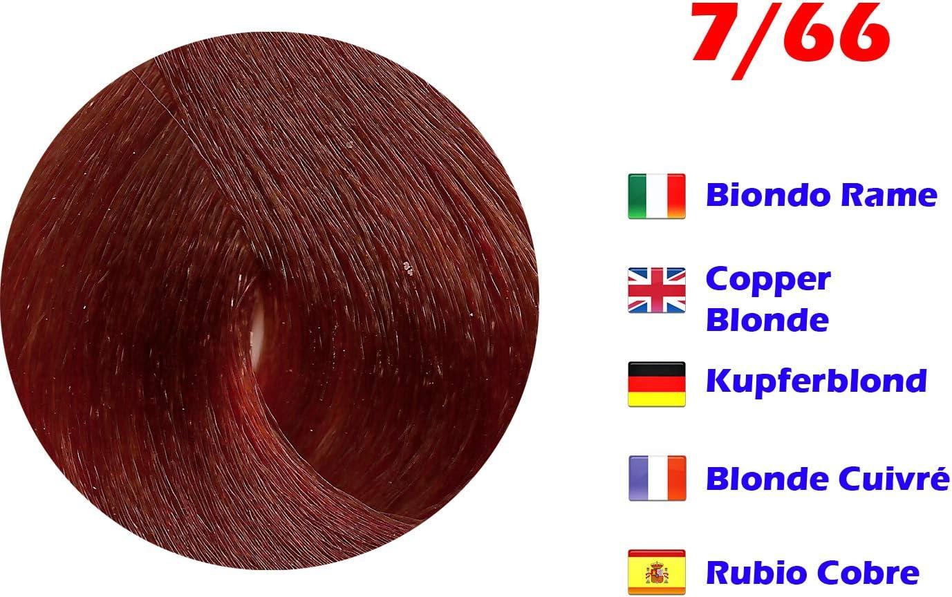 Tinte de Pelo Profesional Rubio Cobre Extreme con Amoníaco 7/66 Permanente 100ml Made in Italy