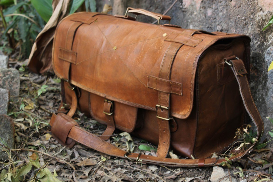 HLC Genuine Leather Handmade Vintage Duffel Luggage Travel Bag Duffel Gym Bag Yogo Bag Travelling Bag by HLC (Image #1)