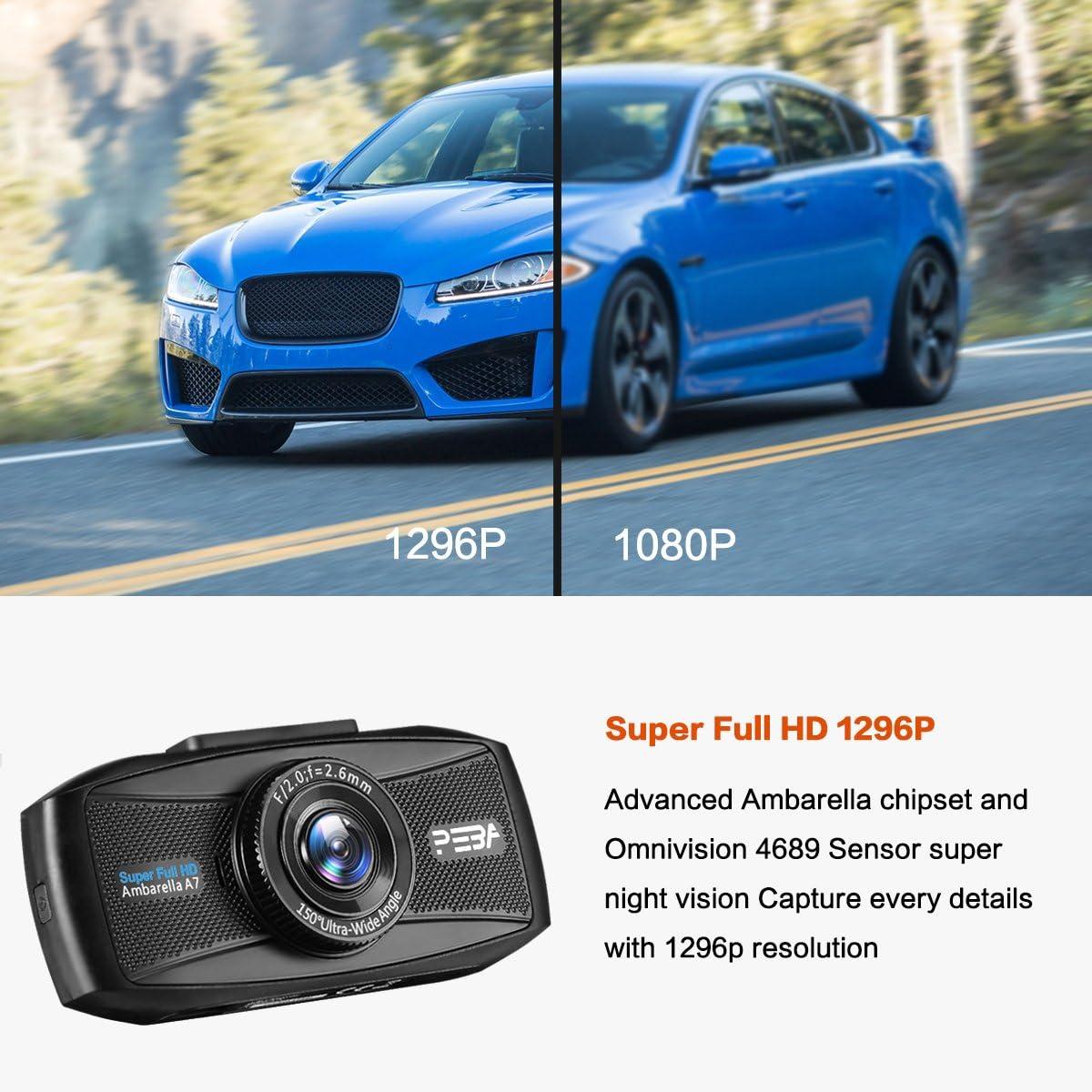 G-Sensor Monitor di parcheggio Dash Cam Telecamera per Auto Full HD 1296P PEBA Auto Video Recorder Visione Notturna Lenti registrazione in loop Rilevatore di Movimento 2,7 LCD