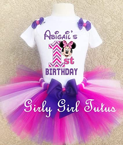 361030af051 Minnie Mouse 1st Birthday Purple Chevron Outfit Custom
