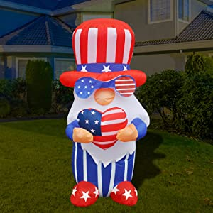 BLOWOUT FUN 4ft Inflatable 4th of July Independent Gnome Holding America Heart LED Decoration Blow Up Lighted Decor Indoor Outdoor Holiday Art Decor Decorations