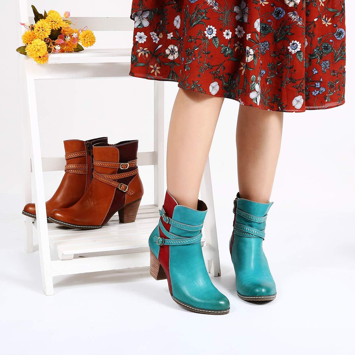 22d24728117ac0 Camfosy Bottines Cuir Talons Femmes, Bottes en Cuir Chaussures de Ville  Hiver /à Talons Hauts Confortables ...