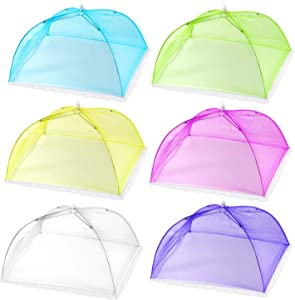 HabiLife 6 pack Colored Large Pop-Up Mesh Food Cover Tent,17 Inches Food Protector Covers Reusable and Collapsible Outdoor Picnic Food Covers Tent For Parties Picnics, BBQs
