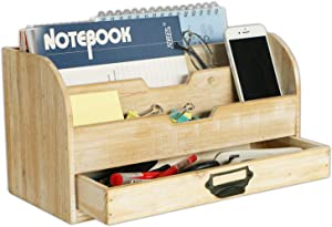 Emaison Wooden Mail Organizer, 3 Tier Office Desk File Sorter with Drawer for Letters, Envelopes, Magazines, File Folders or Office Supplies (Rustic Nature, 13 x 6 x 7 Inch)