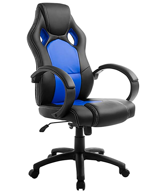 amazoncom high back executive chair racing style gaming chair ergonomic pu leather blue kitchen dining amazoncom bestoffice ergonomic pu leather high