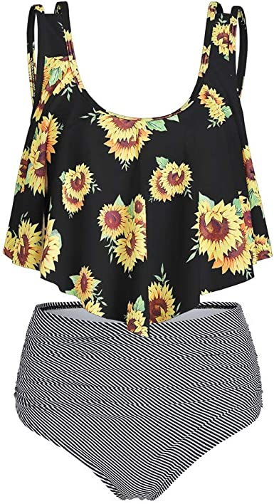 Women High Waisted Tankini Swimsuits Sets,Jchen Ladies Sunflower Print Wrap Bandage Tankini Tops with Shorts Bathing Suits