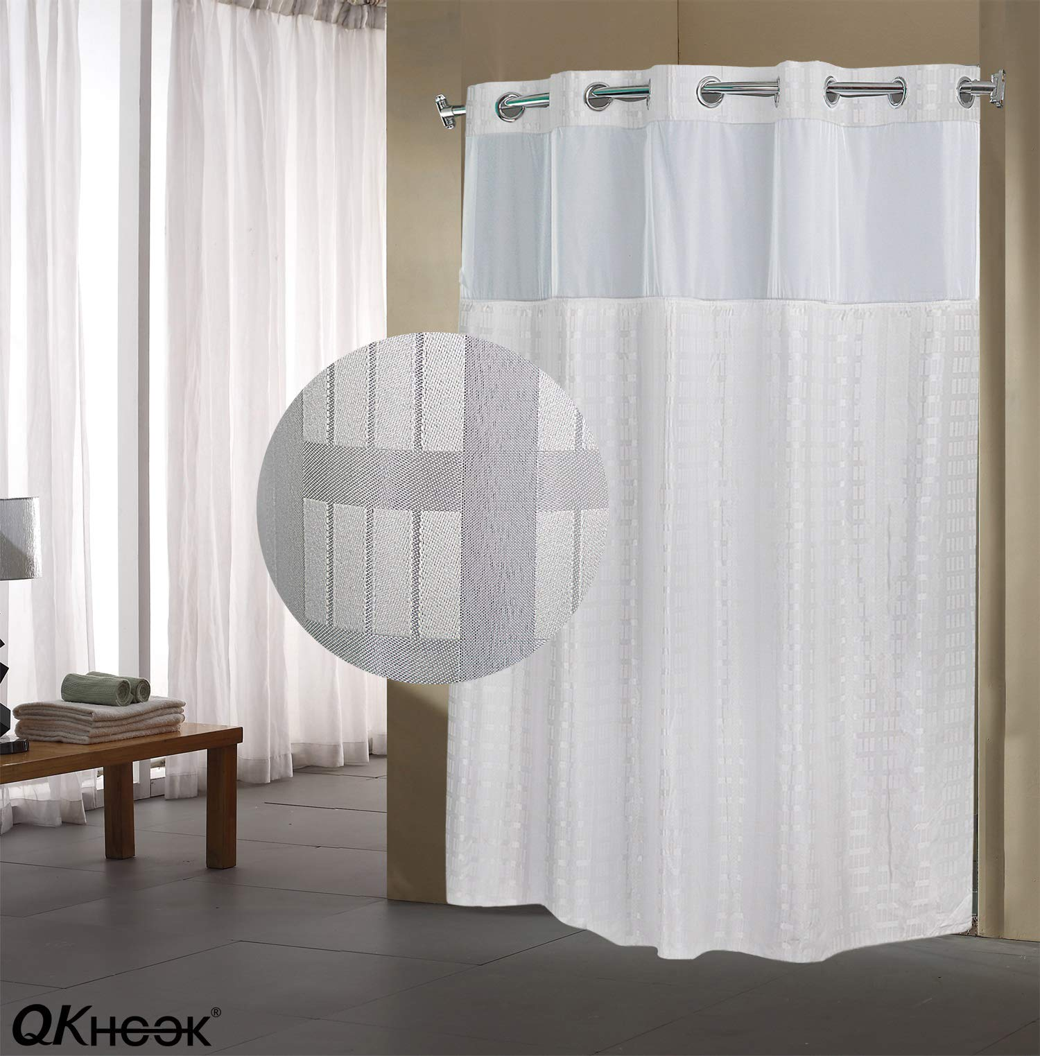 QKHOOK Hookless Shower Curtain with Snap in Liner 1 Pack 71x74 Inches Mildew Resistant Fabric Checker Water-Repellent and Antibacterial