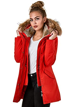 50bd262dd3d4 EightyFive EF1837 Damen Winterjacke Echtfell Parka Jacke Schwarz Rot Rosa  Creme  Amazon.de  Bekleidung