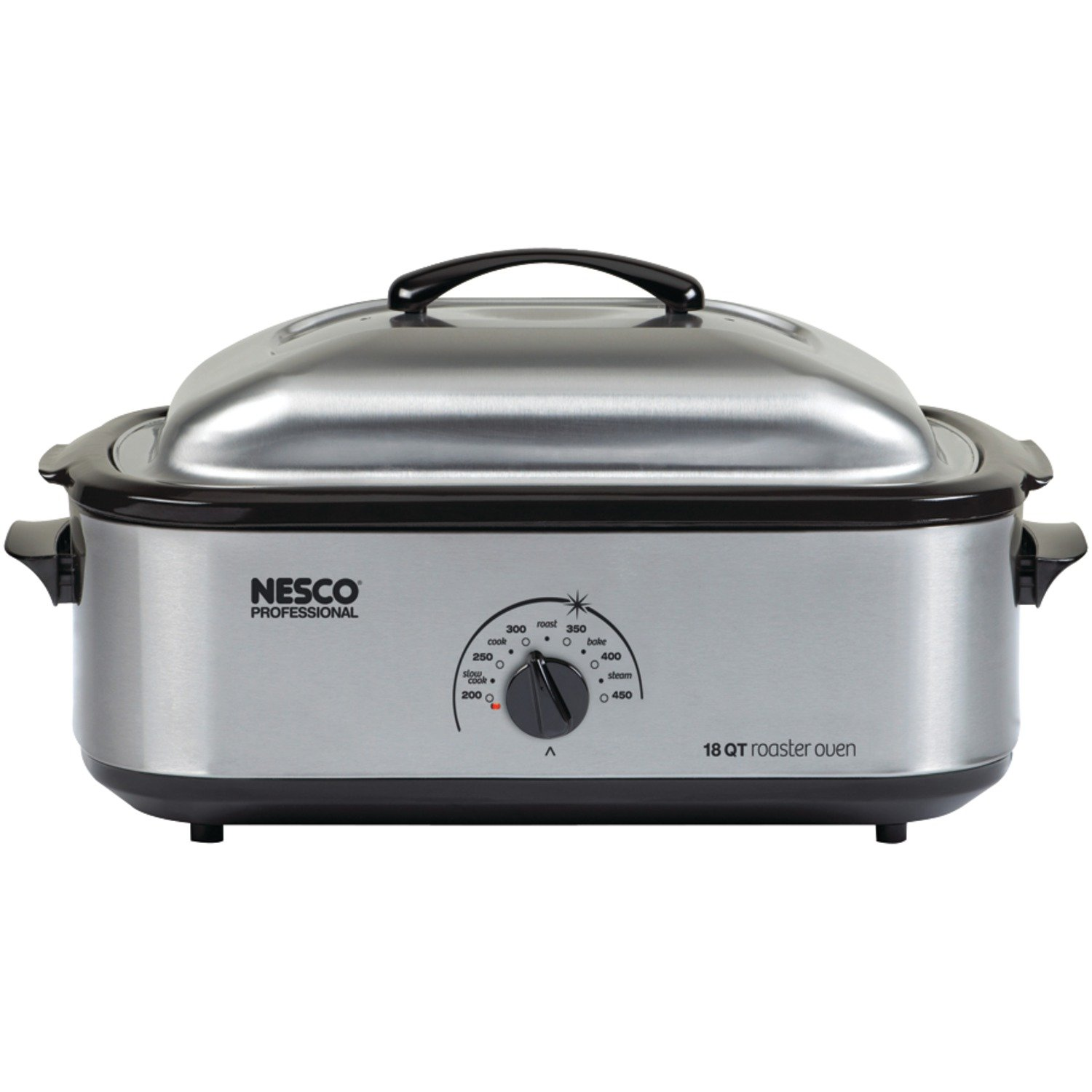 NESCO 481825PR, Roaster Oven with Porcelain Cookwell, Stainless Steel, 18 quart, 1425 watts
