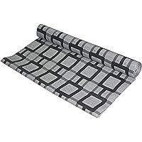 Kuber Industries Checkered PVC Wardrobe Kitchen Drawer Shelf Mat - Grey, 10M Roll