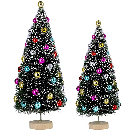 Amazon Com 2 Pcs Flocked Tabletop Trees Small Artificial Frosted