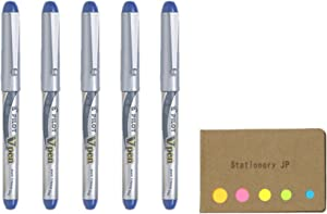 Pilot V Pen (Varsity) Disposable Fountain Pen, Fine Point, Blue Ink, 5-Pack, Sticky Notes Value Set