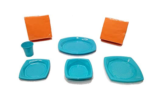 elegi Platos de Plástico Desechables y Reciclables. Pack Fiesta ...