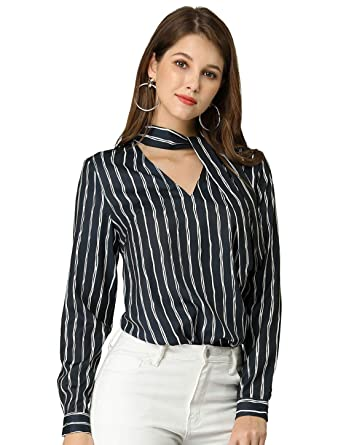 abd0f3189c2 Allegra K Women's Tie V Neck Striped Pattern Long Sleeves Shirt Smart  Casual Lady Blouse Tops