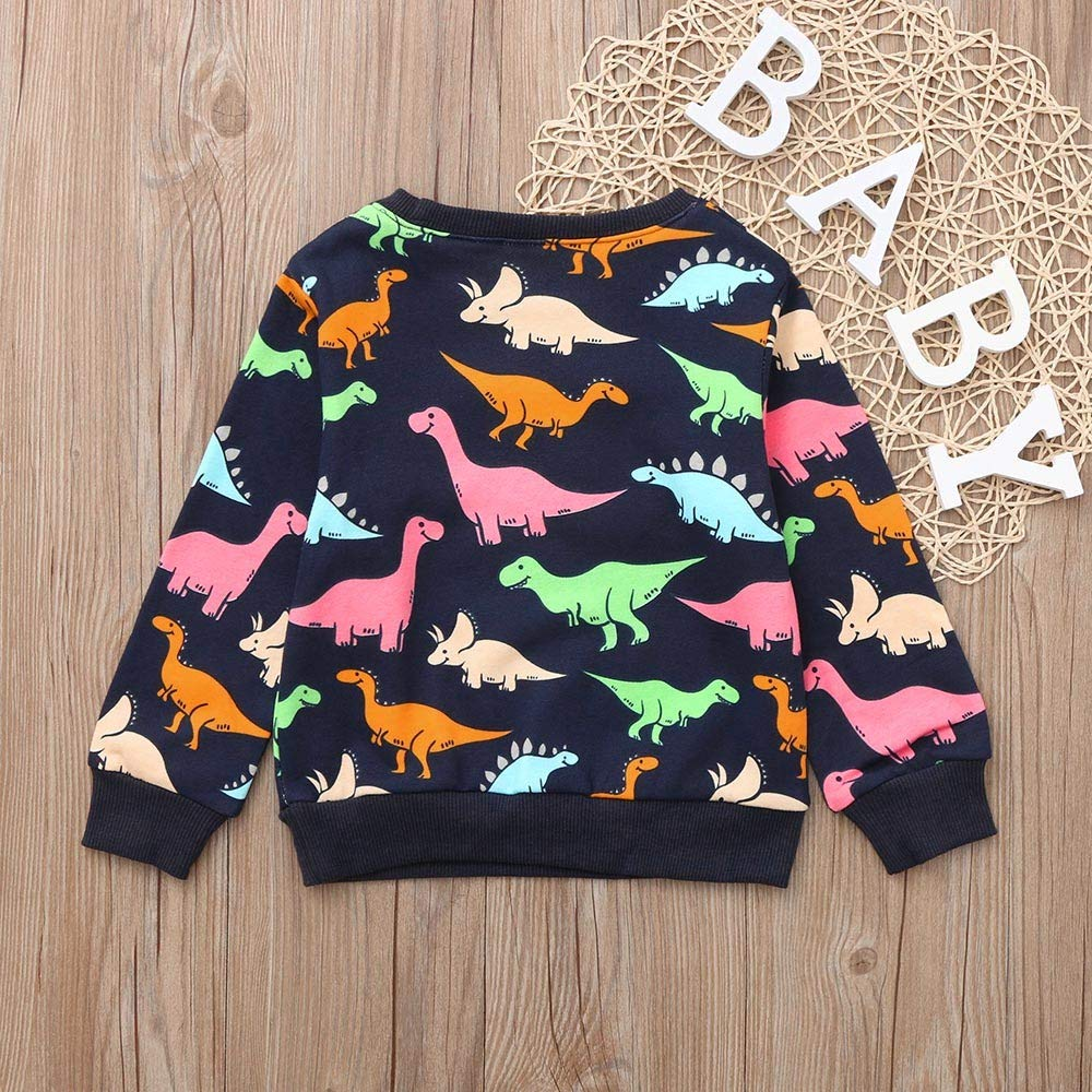 Zerototens Boys Sweatshirt 1-7 Years Old Toddler Baby Boys Girls Long Sleeve O Neck Dinosaur Print T-Shirt Blouse Tops Autumn Winter Children Sportwear Outfits