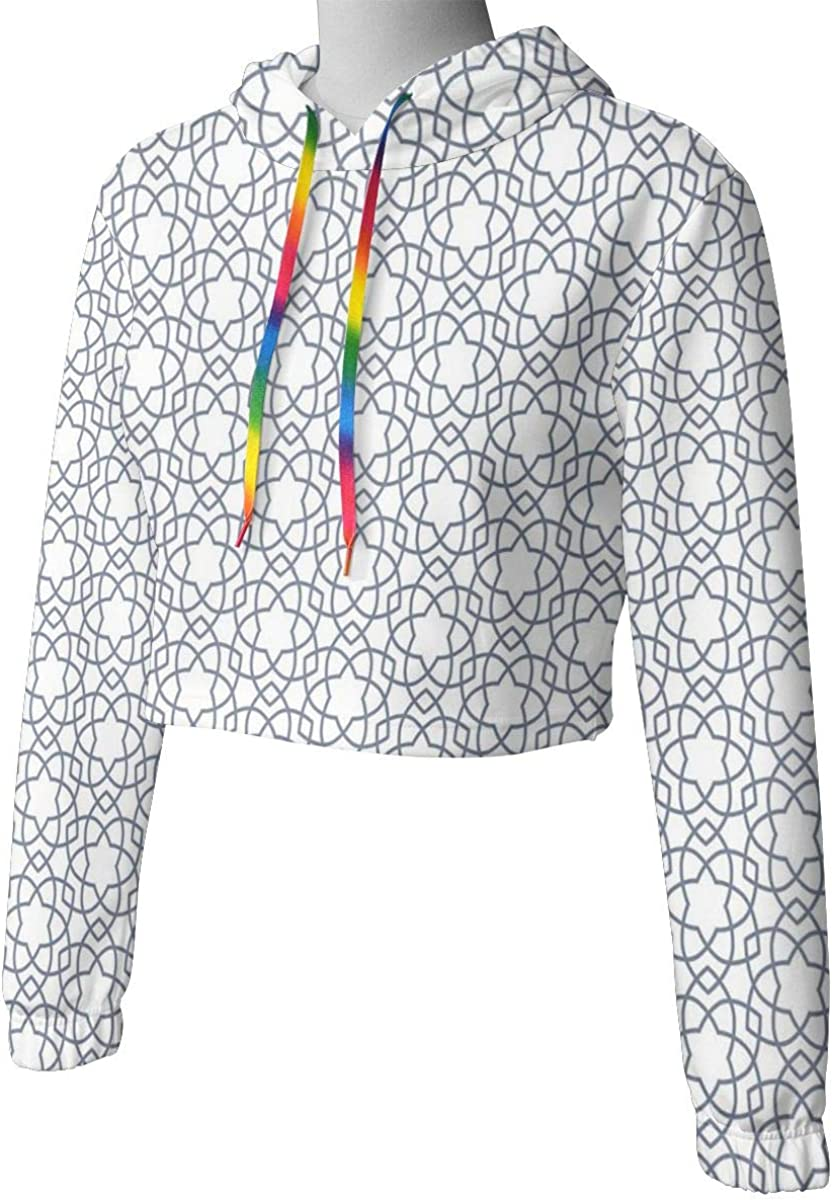 Womens Cropped Hoodie,Asanoha Pattern with Intertwined Lines Traditional Japanese Hemp Leaf Design,S-XL