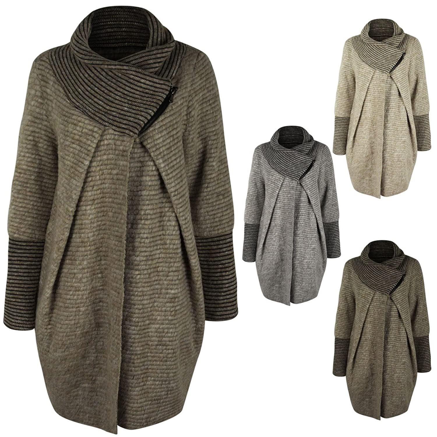 LADIES WOMENS OVERSIZED WRAP CARDIGAN BAGGY TURTLE NECK JUMPER ...