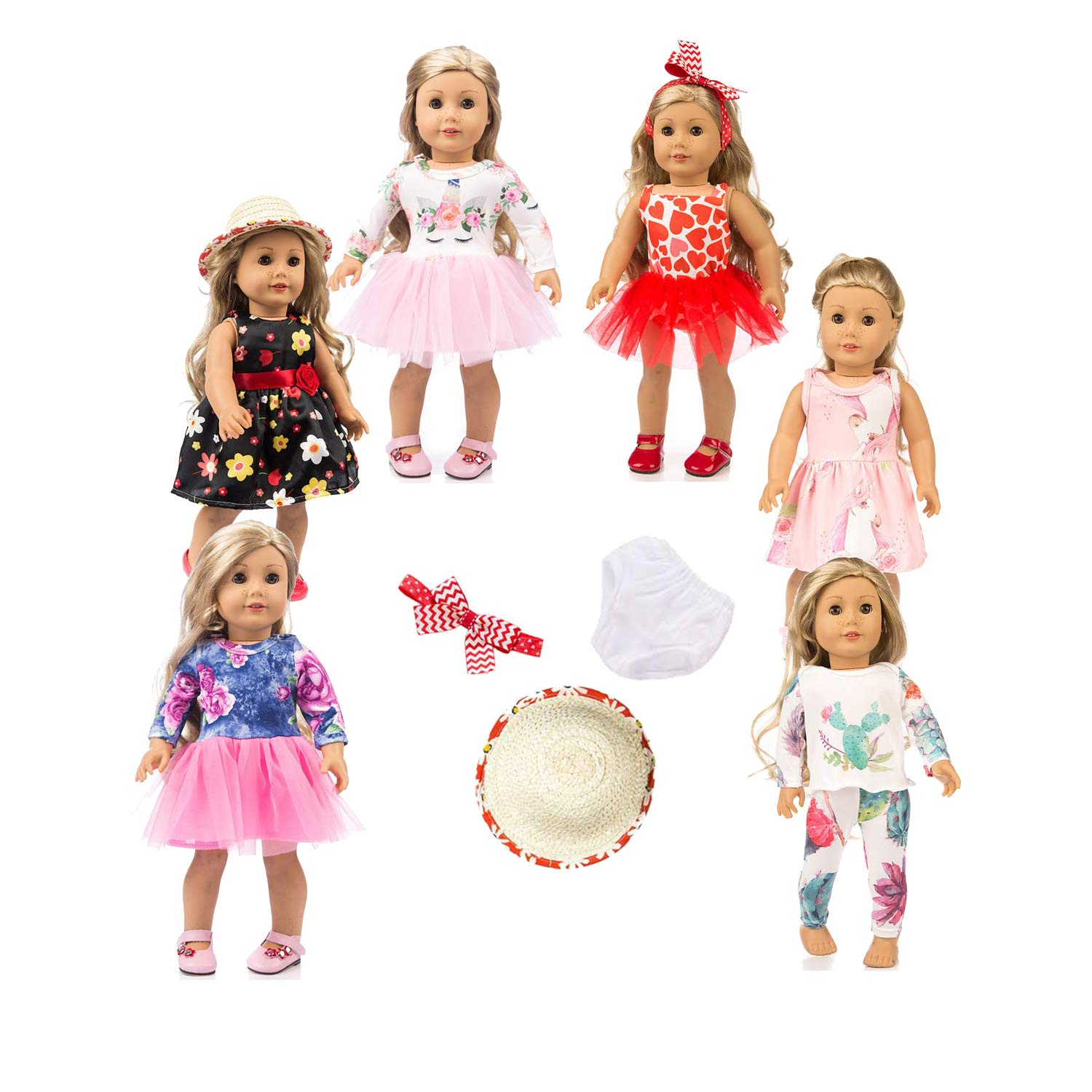 American girsl Doll Unicorn, American girsl Doll Clothes,American girsl Doll Accessories, 18 inch American girsl Doll Unicorn Clothes American girsl Doll Accessories 6 Sets