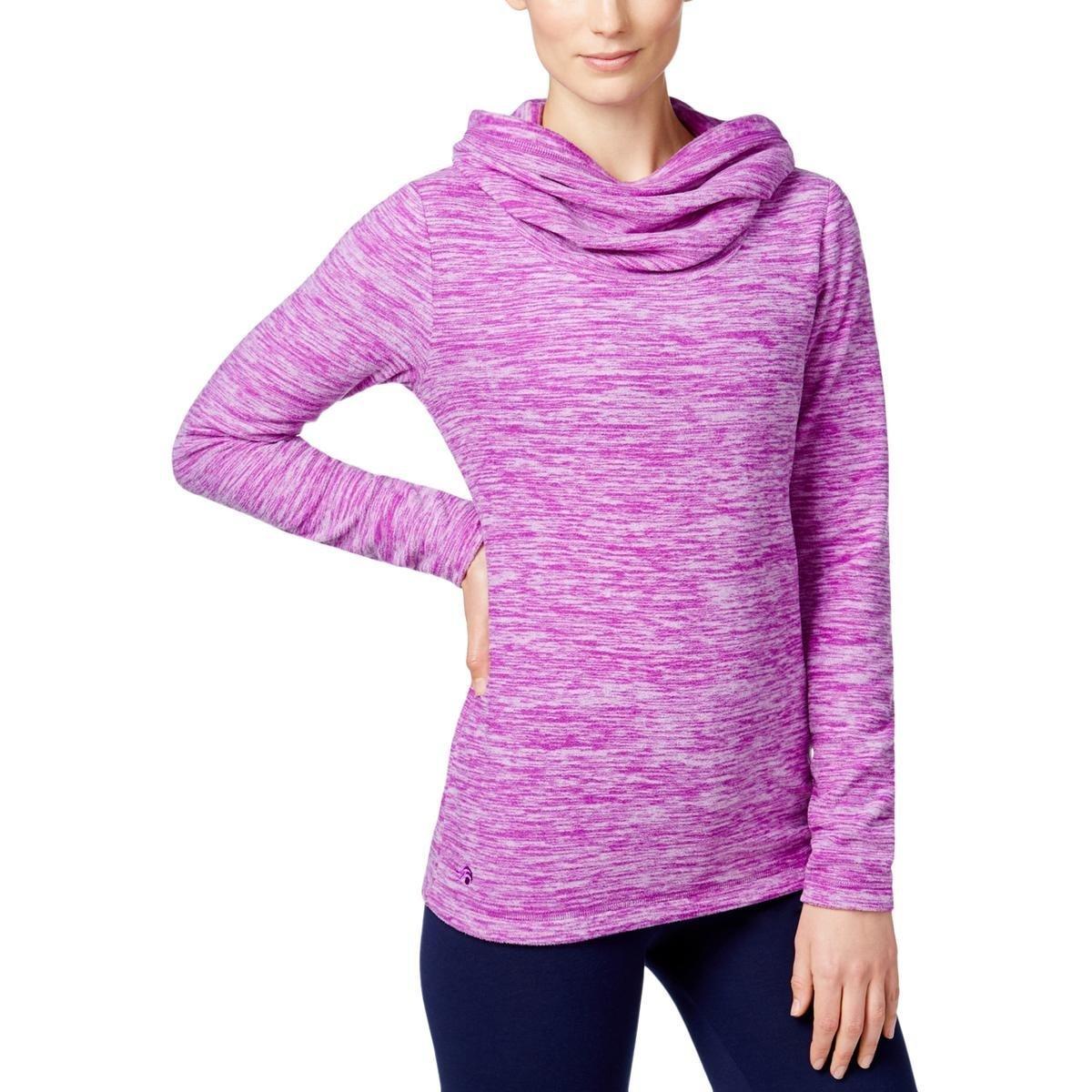 Ideology Womens Cowl-Neck Long Sleeve Sweatshirt Purple L