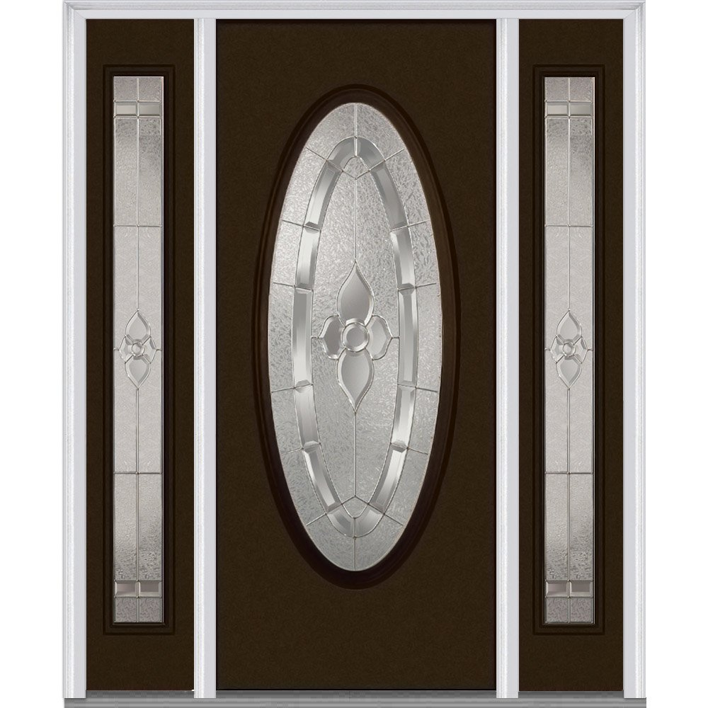National Door Company Z014864L Fiberglass Smooth, Brown, Left Hand In-swing, Exterior Prehung Door, Master Nouveau, Large Oval, 36'' x 80'' with 14'' Sidelites